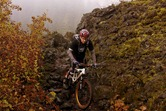 Griff Wigley, riding through the upper lava fields of the McKenzie River Trail