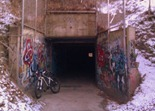 tunnel along the mountain bike trails at River Bend Nature Center