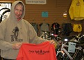 Griff Wigley with Shred the Red hoodie and T-shirt at Cycle Path & Paddle