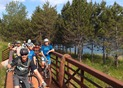Hansi Johnson leading a group ride at the end of the day