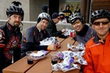 mountain bikers pigging out