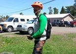 Hansi Johnson, recovering from his crash on Danimal