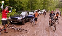IMBA Upper Midwest gang, ready to ride new trail on Camp 38 rd, with Katie Johnson and Bonnie Finnerty