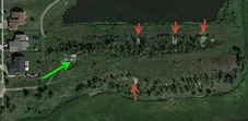 Fargaze dirt mound showing dirt cuts/washouts - Google Earth