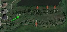 Fargaze dirt mound showing dirt cuts/washouts - Google Earth