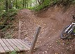 Bridge berm, bottom of Smorgasbord mtb trail, Spirit Mountain