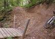 Bridge berm, bottom of Smorgasbord mtb trail, Spirit Mountain
