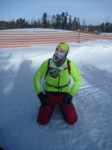Christopher Tassava sitting at finish line - photo by David Sears