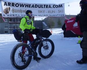 Christopher Tassava with bike at finish line - photo by David Sears