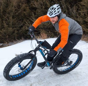 John Gaddo on QBP's fat bike demo course at Frostbike