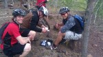 John Seery, Michael Knoll, and bloodied friend in the Yawkey Unit at Cuyuna Lake MTB Trail System