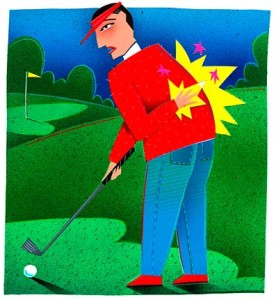 golf back injury cartoon