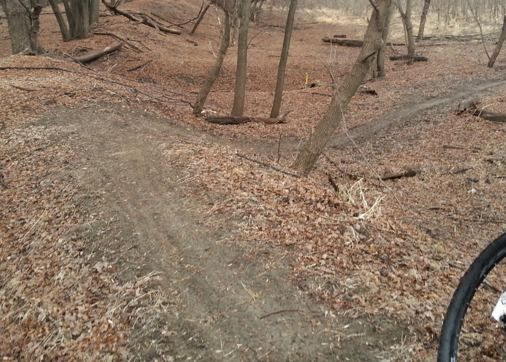 MTB trail with a wide uphill or downhill turn