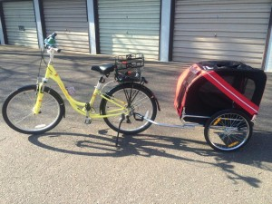 Gilly's bike with pet trailer