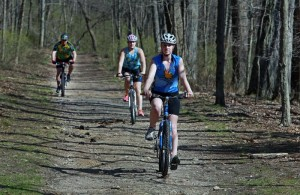 family recreational mountain biking double track - photo by Jim Davis, Globe Staff
