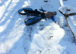 Myrna Mibus, fat biking in Sechler Park