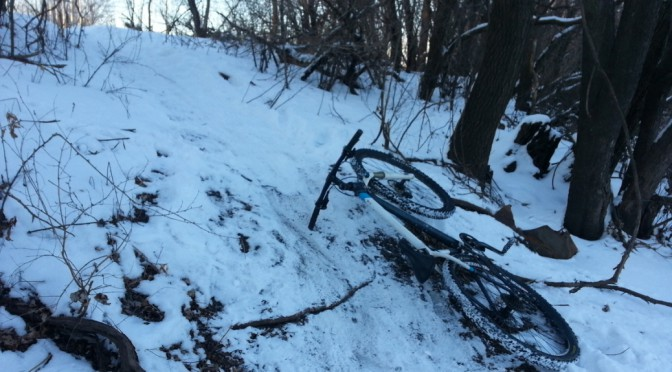 slippery snowy singletrack
