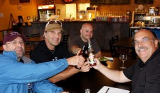 2011 Cuyuna Lakes MTB grand opening toast: Gary Sjoquist, Hans Rey, John Gaddo, Jeff Verink