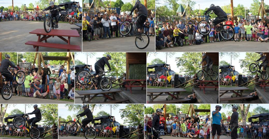 John Gaddo bicycle trials exhibition