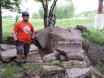 MAMB's Clay Haglund at the Kiwanis MTB Trail's 'stonehenge'