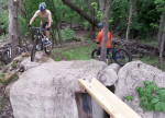Dan Oachs rides MAMB's Kiwanis MTB Trail's 'stonehenge'