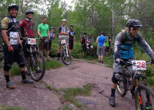 Among the competitors: Caleb Wendel, Eric J Olson, Mason Bacso. Start of Stage 2, Duluth Enduro Series, Piedmont
