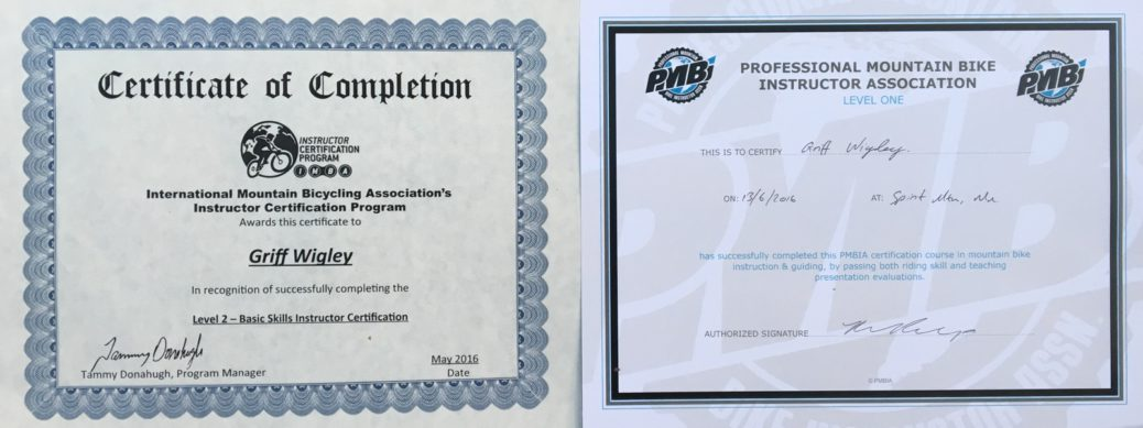 IMBA ICP Level 2 and PMBI Level 1 certificates - Griff Wigley, 2016